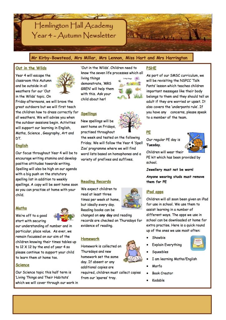 Y4 Newsletter Autumn 2017