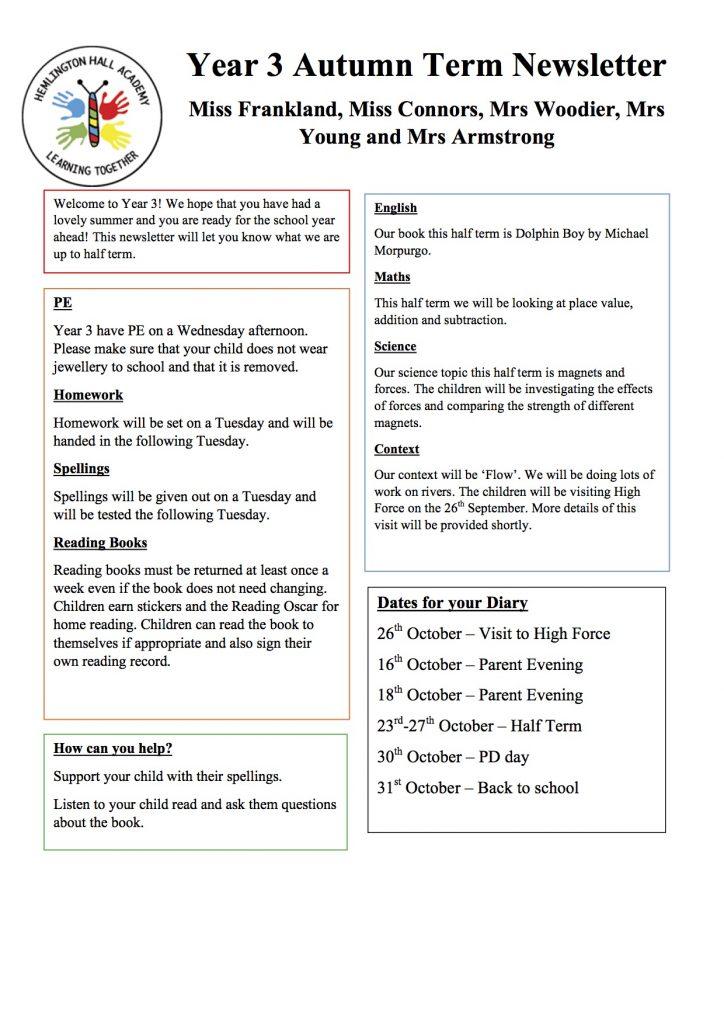 Year 3 Newsletter Autumn Term 2017