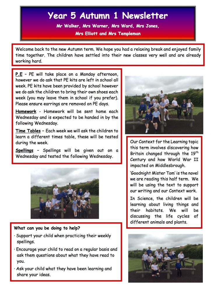 Year 5 Autumn Newsletter 2017